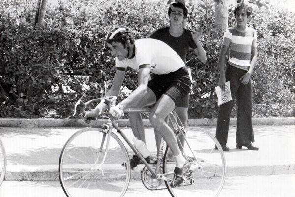 Ο Στέλιος Βάσκος κατά την διάρκεια του αγώνα των Βαλκανικών αγώνων στην Ρόδο το 1975.