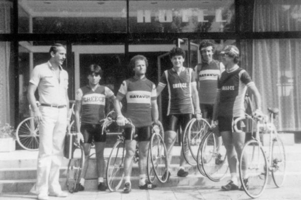 The Greek national track team in Bulgaria. From  left - Giannis Fotinos, Pantelis Manikaros, Grigoris Sakellaris, Michalis Kountras, Giorgos Vogiatzis.