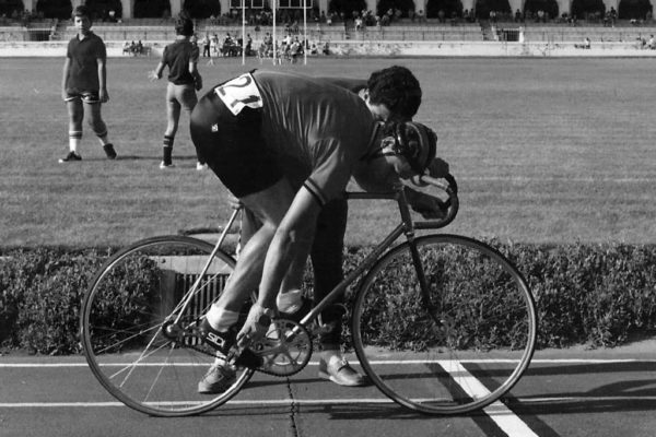 Pantelis Manikaros at the start of the 4000m Pursuit at the 1978 Greek Track Championship, Rhodes Velodrome.