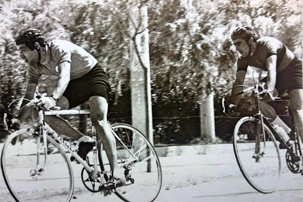 George Vassilakis with Michalis Kountras at the Egaleo criterium in 1974