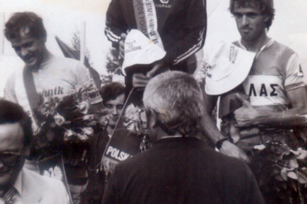 Kanellos Kanellopoulos on the podium at Tour of Poland of 1986